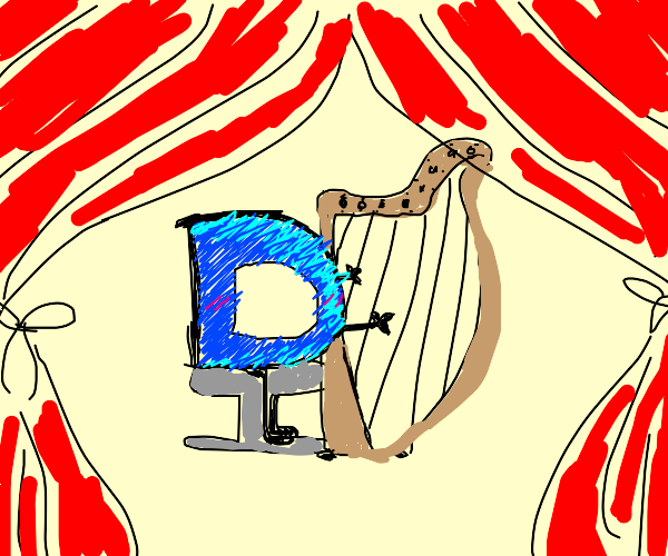 Drawception P playing harp