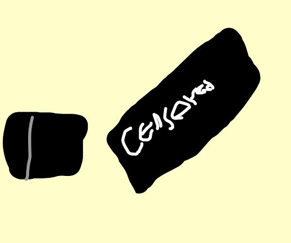 Black square with long, thin, straight banana