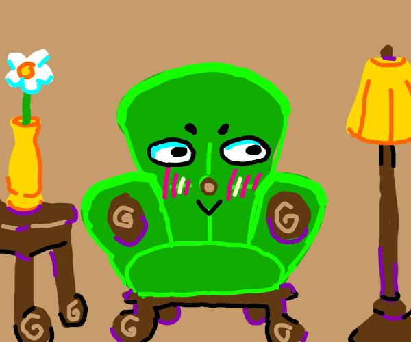A small green chair blushing cutely