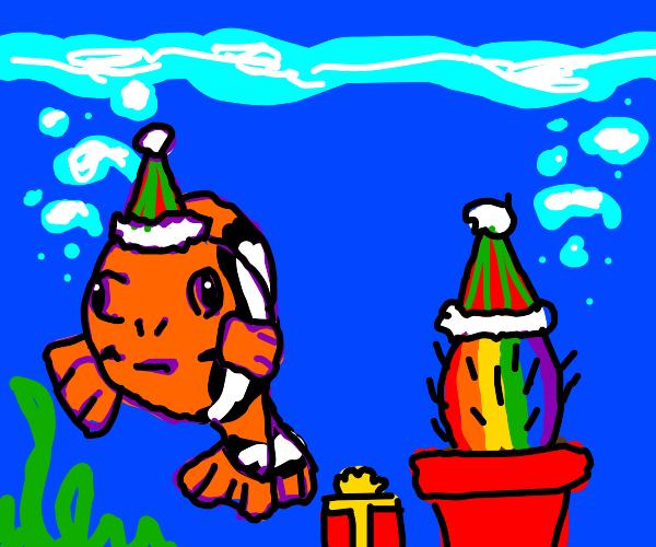 Nemo partying with rainbow cacti