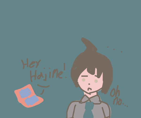 """Nintendo ds says """"Hey hajime!"""" H. is confuse"""