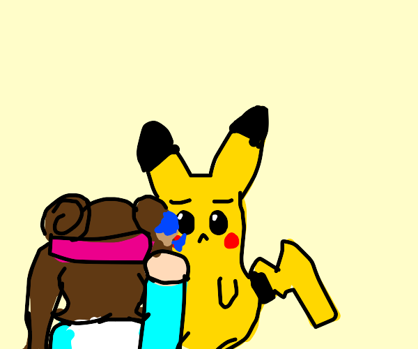 Girl paints sad Pikachu's cheeks