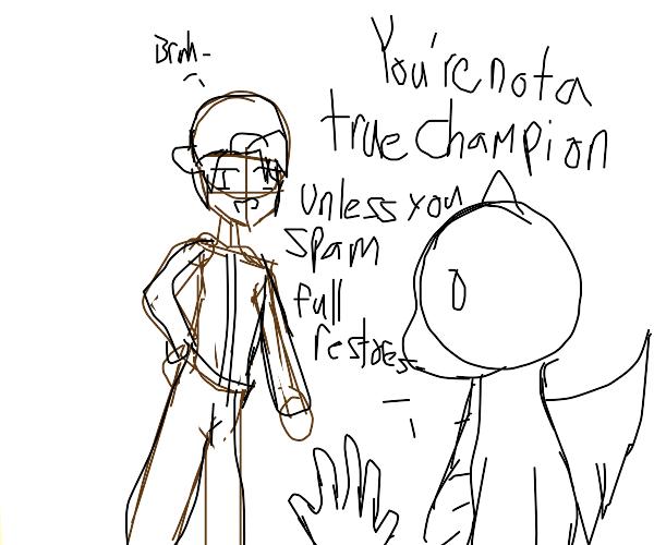 Pokemon battle from Champion Lance's POV