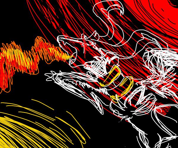 flying demon wolf making fire