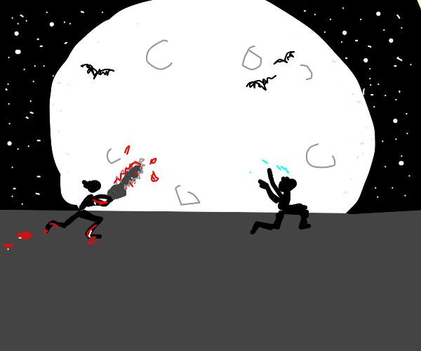 man running from serial killer at night