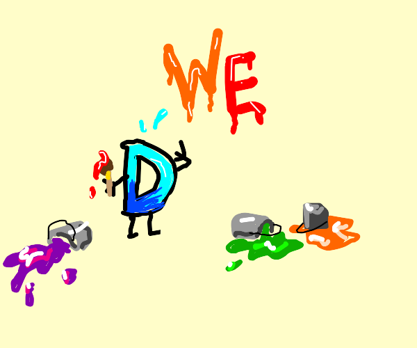 Drawception D spilled his paintbuckets