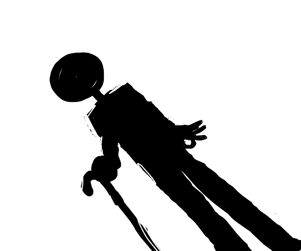 shadow of a man with a cane