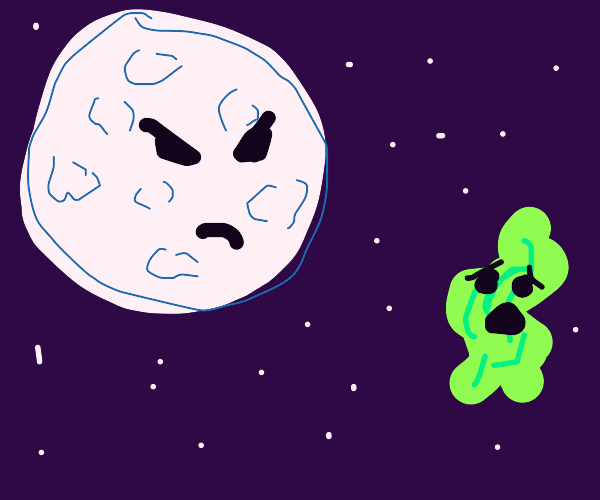 Moon bullies moss in space