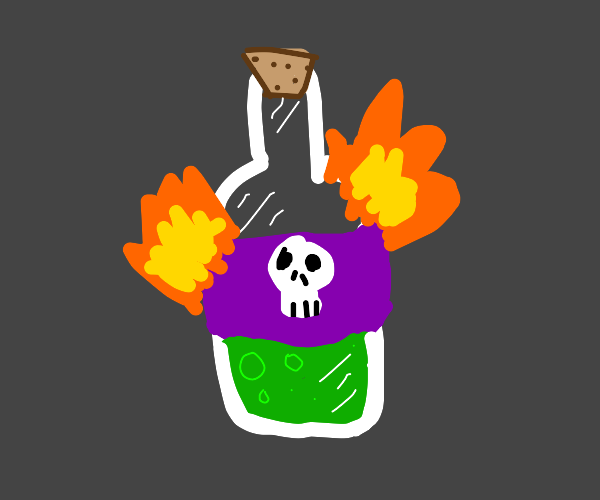 A flaming bottle of poison
