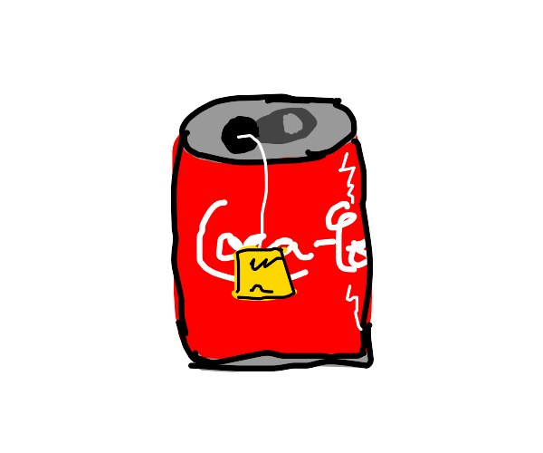 someone putting a tea bag in a coca-cola can