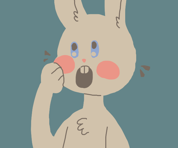 Surprised bunny with red cheeks
