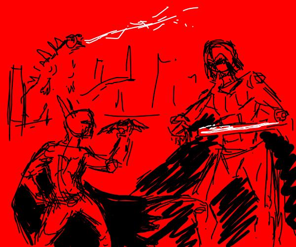 batman fights vader and godzilla rampages