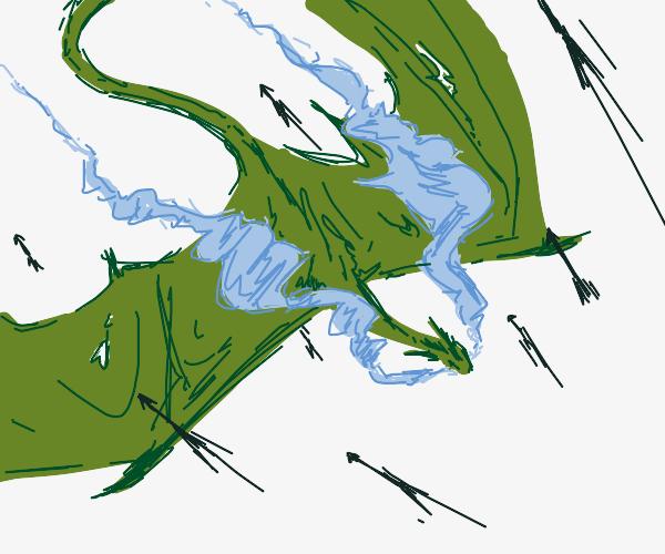 flying green dragon breathing smoke