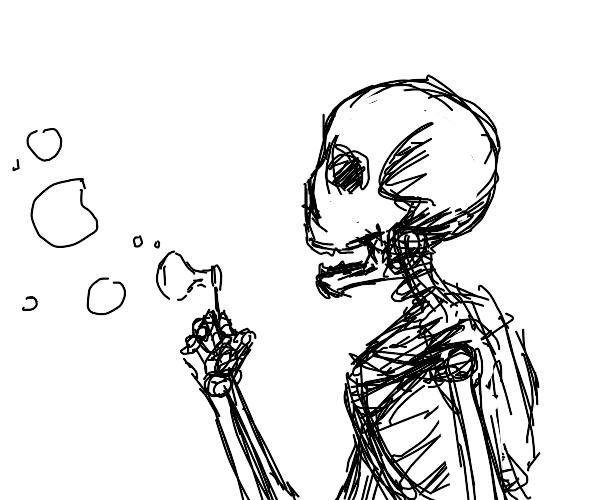 A happy skeleton blows bubbles.
