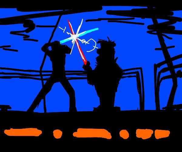 Lightsaber battle - Luke vs Fred Flintstone