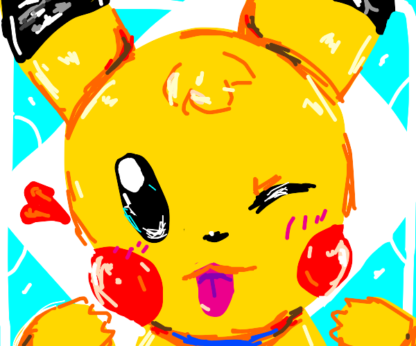 Pikachu sticks out his tongue at you