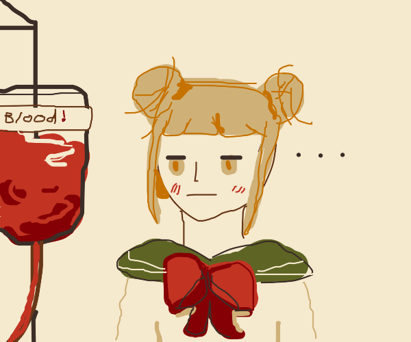 Anime girl looking at blood bank