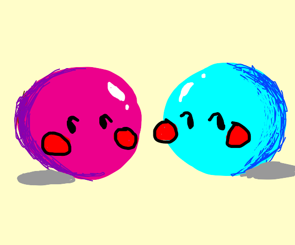 Blue and Pink balls blush for eachother