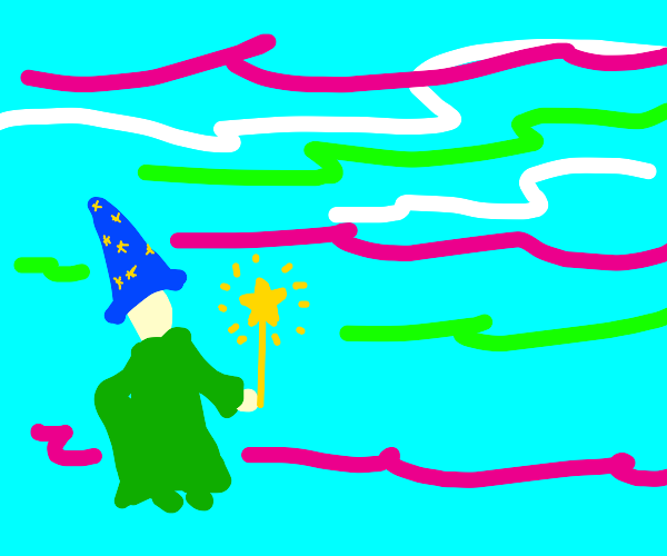 Wizard in a blue hat and a yellow star wand