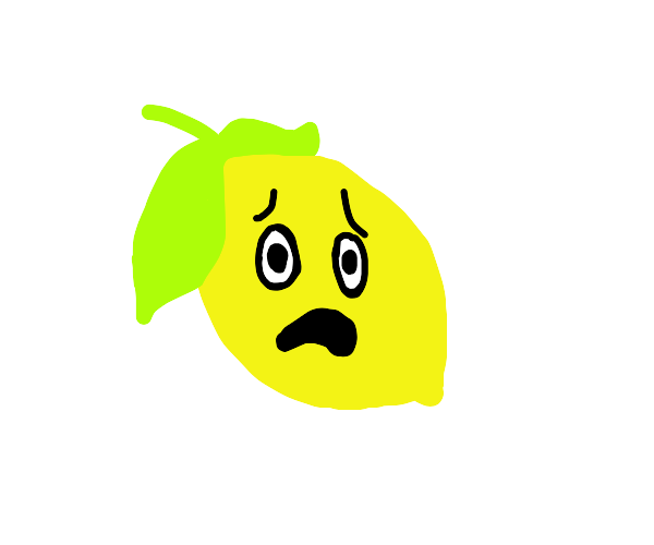 Terrified lemon emoji