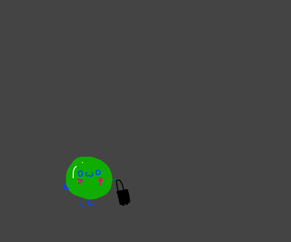 blushing green slime with suitcase owo