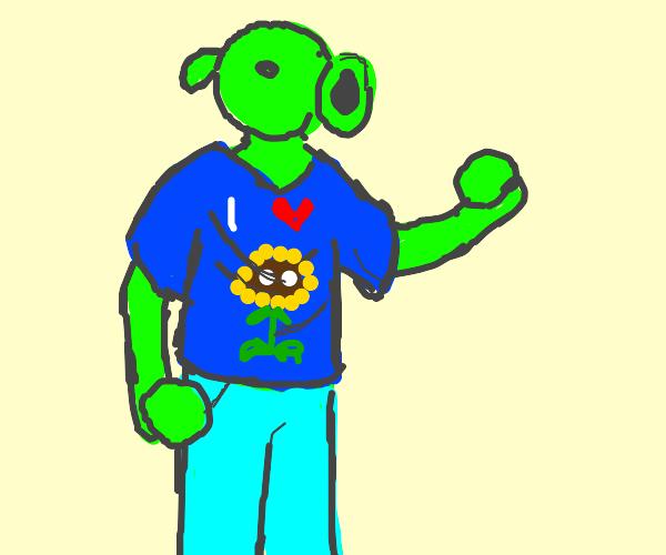 Peashooter with human body