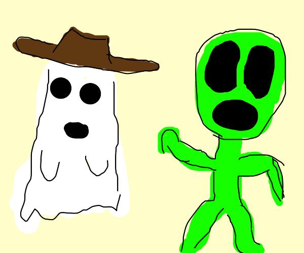 Ghost cowboy scares aliens