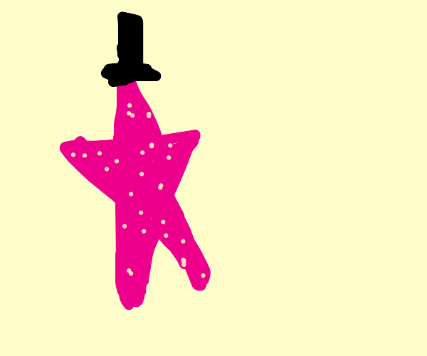 a starfish in a tophat