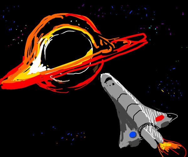 space shuttle goes inside a black hole
