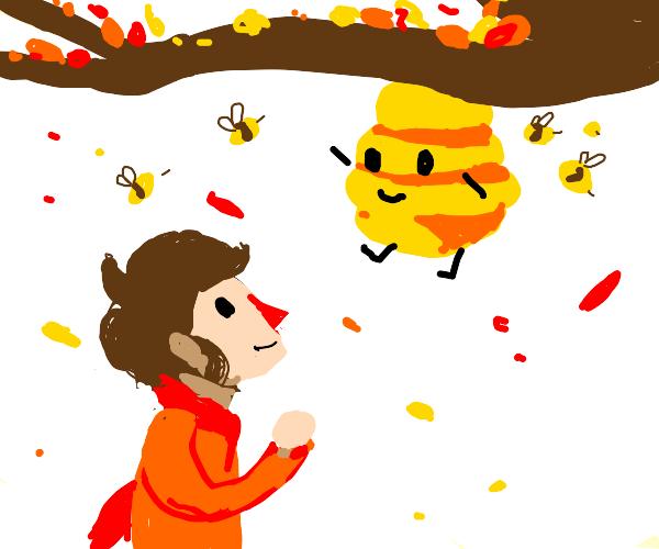 Man greets beehive