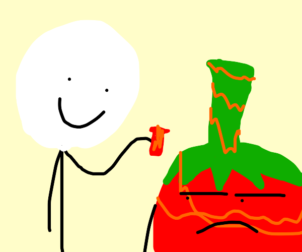 boy putting too much pepper on mr tomatoe