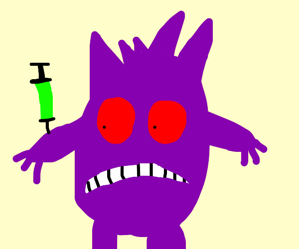 Gengar taking a syringe