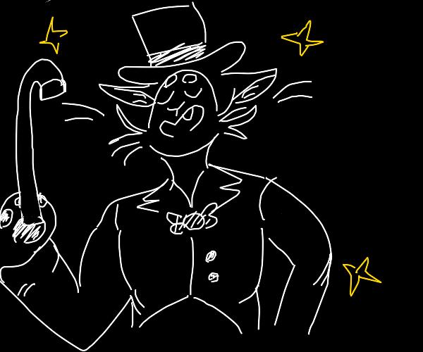 A dapper anthro cat with a cane & top hat