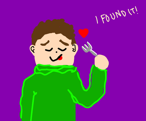 Dude in green sweater finds his fork