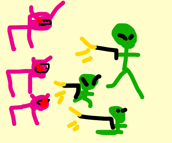 Three Little Pigs but with aliens instead