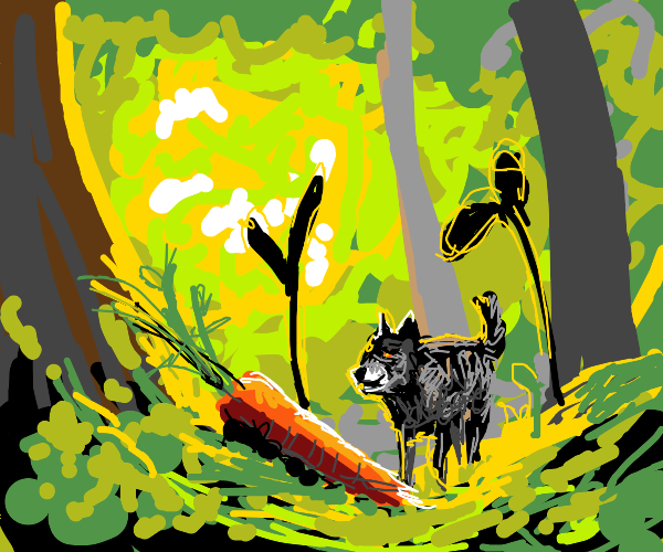 Little Wolf found a carrot