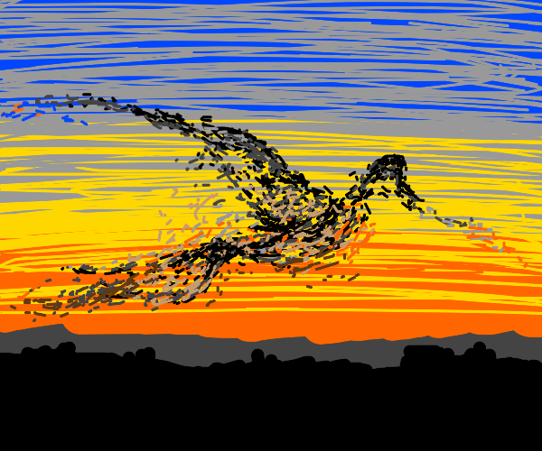 flock of starlings forming paterns at sunset