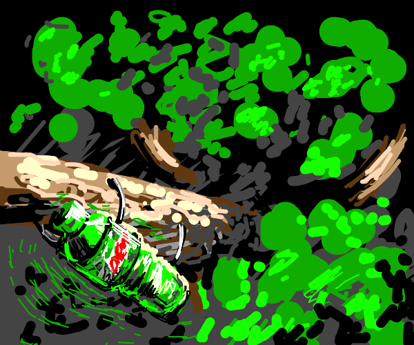 Mountain Dew holds on for dear life to a tree