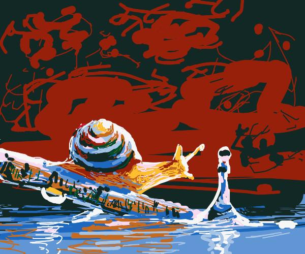 Snail in a hellish landscape