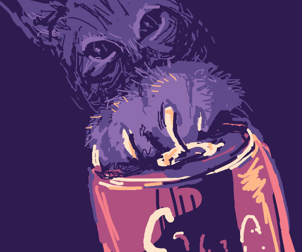 Purple Cat opens soda can with claws