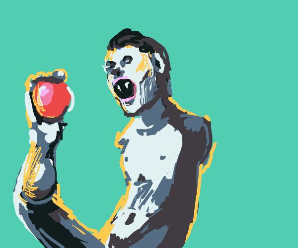 armless vampire eating an apple