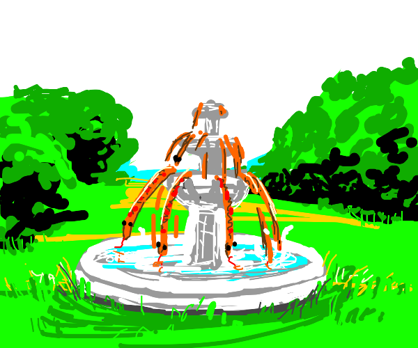 Fountain with snakes flowing out