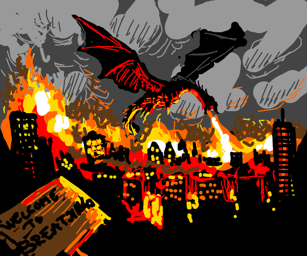 """""""City of Breatjing"""" being attacked by dragon"""