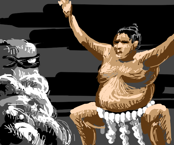 Sumo wrestler threatens a cloud ninja