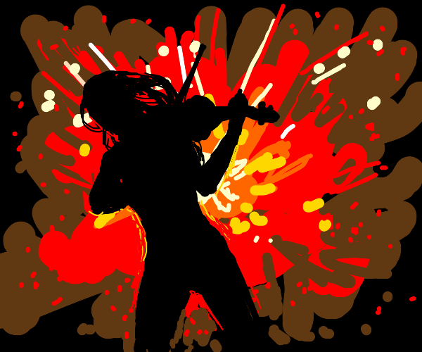 escaping red explosion thing with ur violin