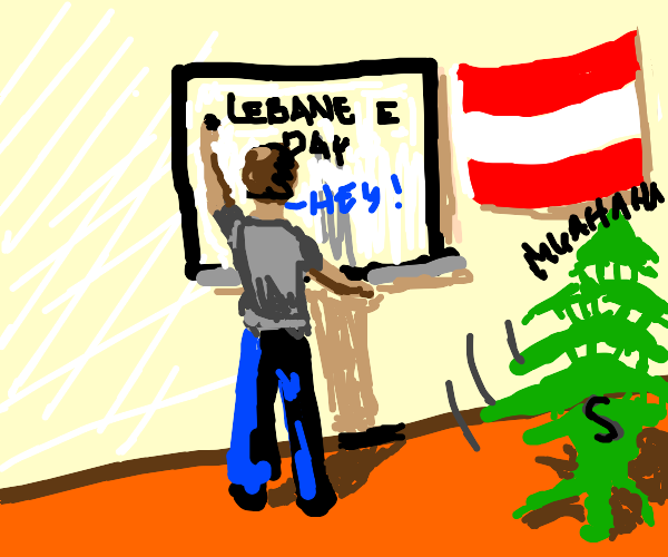 Lebanon Flag tree laughing that it stole my s