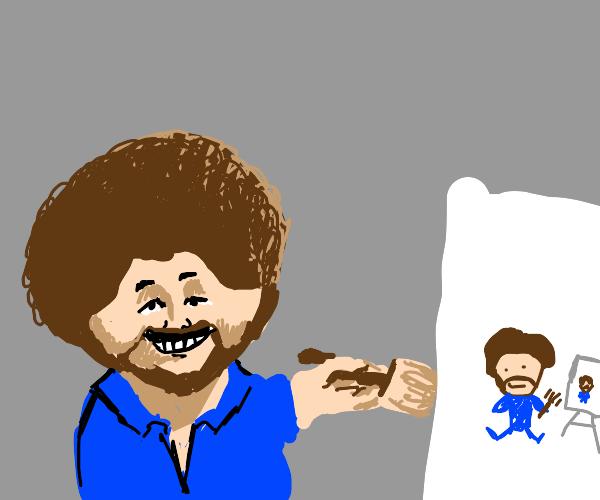 Bob Ross painting a Bob R. painting BobR