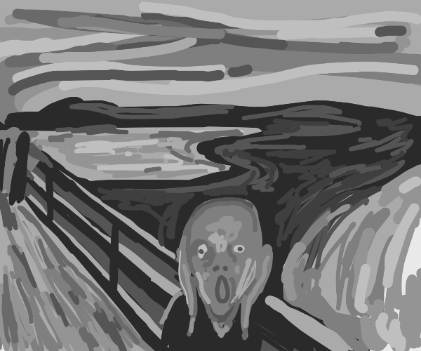 The scream, of Edvard Much. Greyscale