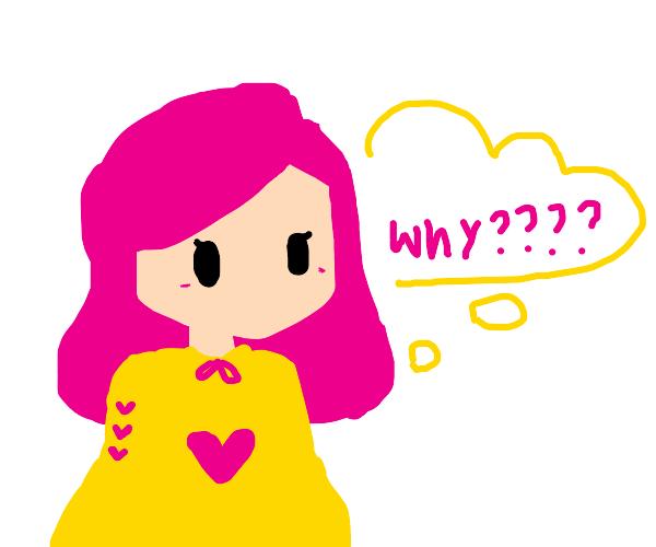 "Woman with pink hair wonders ""whyyyyyyy?"""