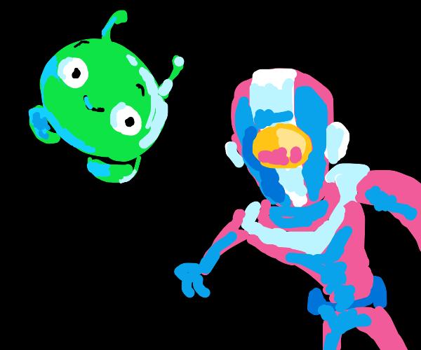 Astronaut chasing smiling alien